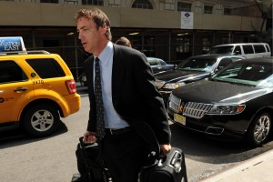 Jun 27, 2013; New York, NY, USA; Colorado Avalanche executive vice president of hockey operations Joe Sakic arrives at the Westin Hotel for the NHL Board of Governors meeting. Mandatory Credit: Joe Camporeale-USA TODAY Sports