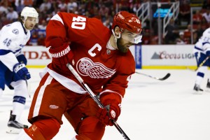 Apr 17, 2016; Detroit, MI, USA; Detroit Red Wings left wing Henrik Zetterberg (40) skates with the puck during the second period against the Tampa Bay Lightning in game three of the first round of the 2016 Stanley Cup Playoffs at Joe Louis Arena. Mandatory Credit: Rick Osentoski-USA TODAY Sports