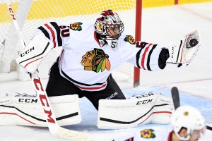 Nov 18, 2016; Calgary, Alberta, CAN; Chicago Blackhawks goalie <a rel=