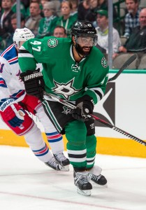 Feb 27, 2016; Dallas, TX, USA; Dallas Stars defenseman Johnny Oduya (47) skates against the New York Rangers at the American Airlines Center. The Rangers defeat the Stars 3-2. Mandatory Credit: Jerome Miron-USA TODAY Sports