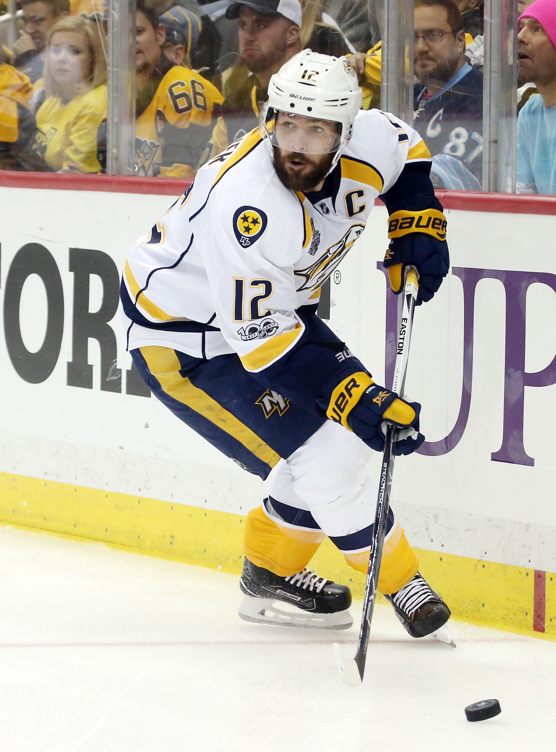 d59aa8a3000 May 31, 2017; Pittsburgh, PA, USA; Nashville Predators center Mike Fisher
