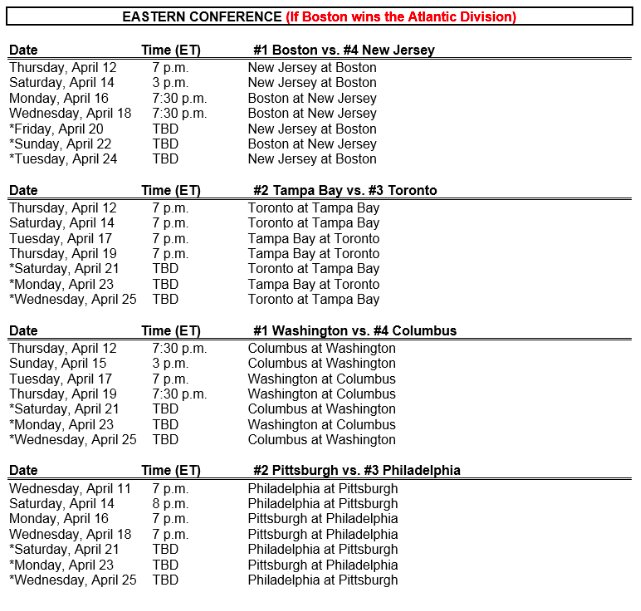 Nhl Play Off Schedule